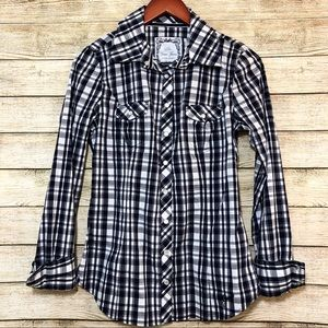 Guess Western Pearl Snap Button Up Shirt Black